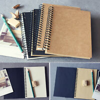 Retro Kraft Vintage Blank Diary Notebook Journal Sketchbook Spiral Bound XN