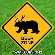 CAUTION BEER ZONE SIGN FOR MAN CAVE GARAGE POOL HALL BAR PUB FUNNY JOKE