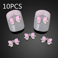 10X 3D Alloy DIY Butterfly Stickers Rhinestone Pink Bow Tie Nail Art Decoration