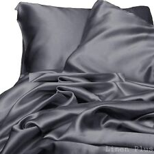 3 Piece Gray Satin Silky Sheet Queen Size Fitted Pillows 500TC New
