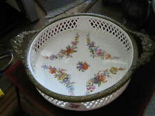 c. 1899 RVR (Max Roesler, Rodach Bavaria) Porcelain Footed Bowl w/ mounted Brass