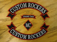 CUSTOM EMBROIDERED RIBBON ROCKER SET NAME DIAMOND PATCHES MADE IN USA