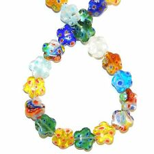 """G4317L2 Assorted Color 12mm Flat Flower Shaped Millefiori Glass Beads 14"""""""