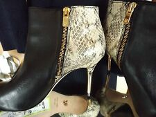 Vero Cuoio Ankle Boots Python Gold Stiletto Dress Heels 7.5 Orig. $595