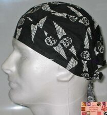 WINGED SKULL Wings Flight Biker FITTED TIED BANDANA Head Cap DOO DO Du Rag DoRag