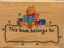 Hunny Bee Bookplate Disney Wood Mount Rubber Stamp #997H01 Winnie The Pooh Bear