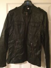 Men's H&M Faux Leather Black Biker Jacket Medium Cafe Racer Style