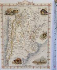 """Antique vintage colour map 1800s: Chilli & La Plata: John Tallis 13 X 9"""" Reprint"""