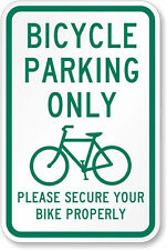 "bike bicycle parking only please secure 12"" x 8"" Aluminum Sign made USA"