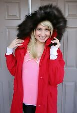 WOMEN'S GENUINE CRYSTAL FOX FUR HOODED TRIM RED COAT JACKET