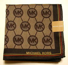 MICHAEL KORS Handkerchief scarf bandanna Dark brown Logo Cotton Auth New !