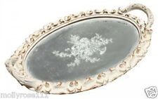 Palladian Oval French Provincial Off  White Decorative Ornate Shabby Mirror Tray