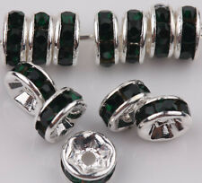 50 Czech Glass Crystal Silver Rondelle Spacer Bead Charm Jewelry Finding 6/8mm