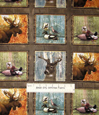 Mountain Woods Animals Moose Duck Elk Wildnerness Camp SPX Cotton Fabric PANEL