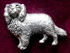 Pewter Cavalier King Charles Spaniel Brooch Signed
