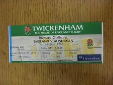 16/11/2002 Rugby Union Ticket: England v Australia [At Twickenham] (folded). Ite