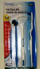 Oral 4 Pack Care Kit Adult Toothbrush Tongue Cleaner Dental Pick & Mirror BLUE