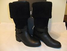 COACH Parka Black Leather & Suede Leather Winter Knee High Boot Size 8 NIB $295