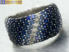 Ladies Designer EFFY Splash 925 Sterling Silver Sapphire Band Ring