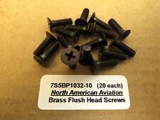 #10-32 Brass Flush Instrument Screws WWII Aircraft T6 B17 B25 P51 P40 Warbird