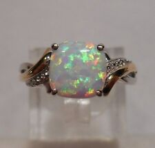 Estate~Alwand Vahan~Opal 10k Yellow Gold & 925 Sterling Silver Ring Size 7