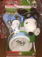 Peanuts Snoopy The Red Baron Hungry Pet Food Bowl Dish & Bone Plush Chew Toy