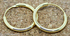 Pair Men Women Gold Plated Hinged Hoop Earrings