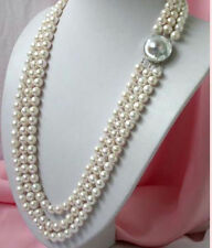 New 3 ROWS 8-7MM white  SOUTH SEA cultured pearl necklace 18-19-20""