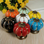 Vintage Pumpkin Ceramic Door Knobs Cabinet Drawer Cupboard Kitchen Pull Handles