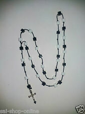 White & Black Square Beads Rosary with Cross Prayer Beads Mala Necklace