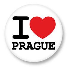 Magnet Aimant Frigo Ø38mm I Love Heart Coeur J'aime Prague République Tchèque