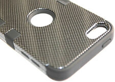 iPod Touch 5th / 6th Gen - Black Carbon Fiber Armor Hard&Soft Rubber Hybrid Case