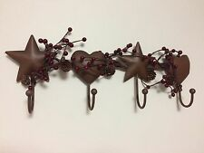 Country Heart Stars Berries Folk Art Bathroom Bath Towel Hanger Hooks Wall Decor