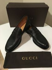 New Gucci Black Patmos Leather Penny Loafer Shoes UK Sz 11.5 /US 12.5 ����������