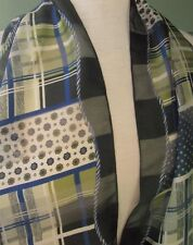 "BONITA SCARF SHEER PLAID GEOMETRIC NAUTICAL ROPE PRINT RECTANGLE 61"" x 15"""