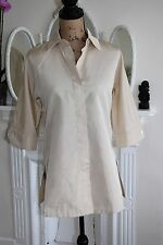 BNWT Womens Max Mara Beige Silk Blend Collared Tunic Shirt UK 8 RRP£338 Safari
