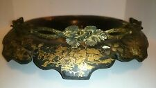 Antique Victorian 19th Century Mother of Pearl Inlaid Black Lacquer Basket Brass