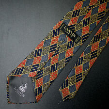 Lanvin Paris Diamond Check Silk Tie Made in France