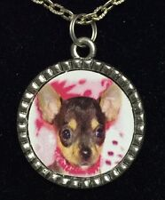 "Dog Chihuahua Puppy in Pink Charm Tibetan Silver with 18"" Necklace A50 BIN"