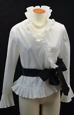 Isadora Collection pintucked pleated ruffle blouse Top Shirt wrap top PM VTG NEW