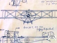 RPG227 Blueprint Airplane Architect Drafting Engineer Quilting Cotton Fabric