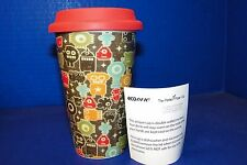 Travel Mug Coffee Cup Eco One Ceramic Silicone Pac Man Video Gamer Space Theme