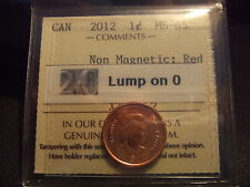 CANADA ONE CENT 2012 Lump on 0, ICCS MS-65! Full RED!