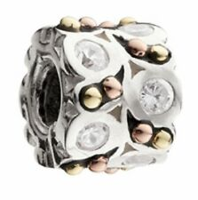 Chamilia A Night Out Sterling Silver 14K GOLD Clear CZ Bead KD-78 NEW Authentic