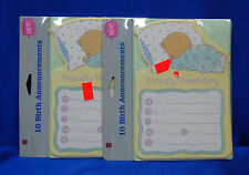 Baby Birth Announcements, Cuddly Sleeping Baby Bear, 20 Announcements W/Envelope