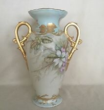 STUNNING Unmarked Antique Limoges Porcelain Hand Painted Vase Heavy Gold Flowers