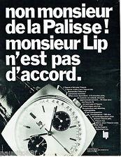 PUBLICITE ADVERTISING 115  1968  LIP montre Mr De La Palisse  *
