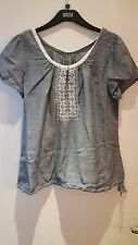 BNWT LADIES M&S WOMAN SHORT SLEEVED CHAMBRAY/CREAM PURE COTTON TOP SIZE 12