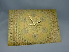 Metatron Cube within Flower of Life WALL CLOCK, Print on Gold Brushed Metal
