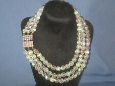 Vintage Silver-Tone Metal 3 Strand AB Crystal Bead Rhinestone Clasp Necklace
